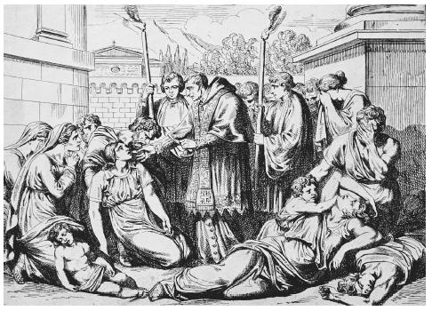 In this drawing, Saint Borromeo assists plague victims. In its most lethal periods, the ancient epidemic—whatever its cause—killed as many as four out of ten people in the areas affected. BETTMANN/CORBIS