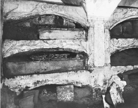 Loculi, shelves for remains, can be seen in the ancient catacombs of St. Sebastian in Rome. ALINARI-ART REFERENCE/ART RESOURCE