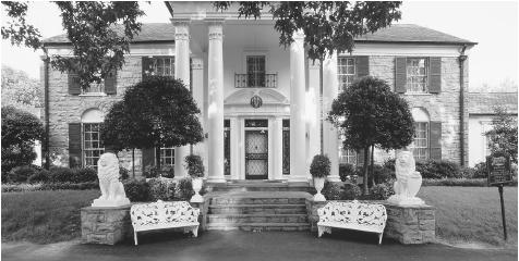 Graceland in Memphis, Tennessee, was the home of celebrity Elvis Presley for 20 years until his death in 1977. It is now one of the most popular tourist attractions in the United States, visited by thousands each year on the anniversary of Presley's death. CORBIS