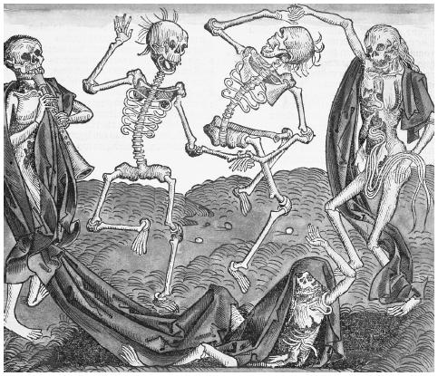 "This woodcut print of A Dance of Death from Liber Chronicarum shows the ""band"" of four skeletons following their leader, Death; thus began the personification of death. HISTORICAL PICTURE ARCHIVE/CORBIS"