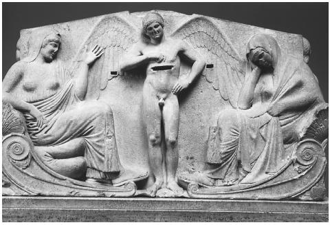 "Sigmund Freud claimed each human had a death instinct, called Thanatos, the Greek word for ""death."" This Greek relief sculpture shows Thanatos positioned between Aphrodite and Persephone, who are thought to be competing for the soul of Adonis. BURSTEIN COLLECTION/CORBIS"