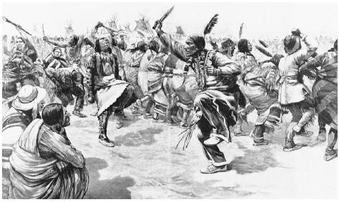 This wood engraving from 1891 depicts a group of Sioux dancers performing, most likely, one of their last ghost dances before the arrest of the warrior chief Sitting Bull. CORBIS