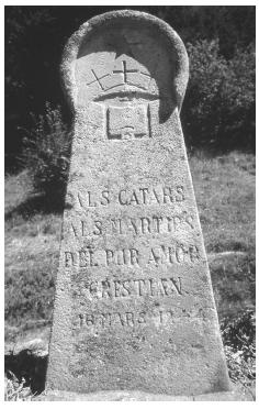 Among the ruins of Montsegur in southern France, a memorial stands in the Field of the Burned to commomorate the sacrifice of over 200 Cathar heretics in 1244. FORTEAN PICTURE LIBRARY