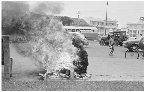In a form of ritual suicide, Buddhist monks in Saigon who protested the violence demonstrated by the Ngo Dinh Diem government during the Vietnam war died by self-immoliation in an open public square. BETTMANN/CORBIS