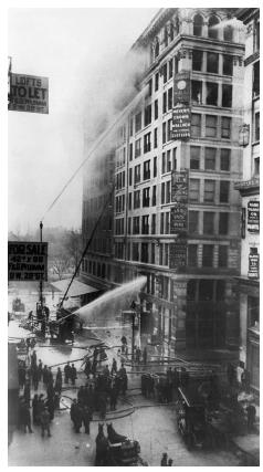 The high death toll of the Triangle Shirtwaist Company fire was a result of locked doors and inadequate fire escapes. New federal safety regulations were established to reduce the likelihood of other such disasters. UNDERWOOD & UNDERWOOD/CORBIS